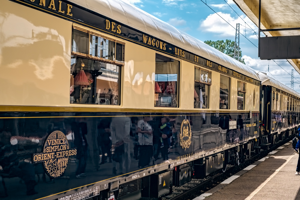 The legendary Venice Simplon Orient Express is ready to depart from Ruse Railway station.