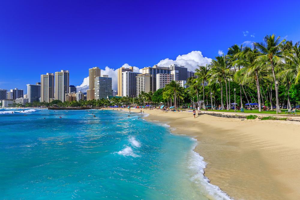 Honolulu, Hawaii. Waikiki beach and Honolulu's skyline