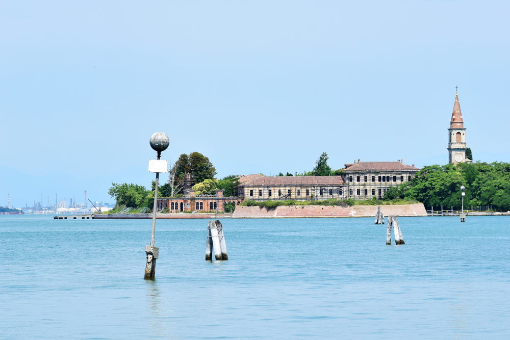 Poveglia, a small island located between Venice and Lido in the Venetian Lagoon, Italy, as seen from Malamocco on Lido Island