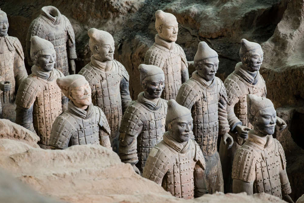 The Terracotta Army is the collection of sculptures depicting the armies of Qin Shi Huang, the first Emperor of China